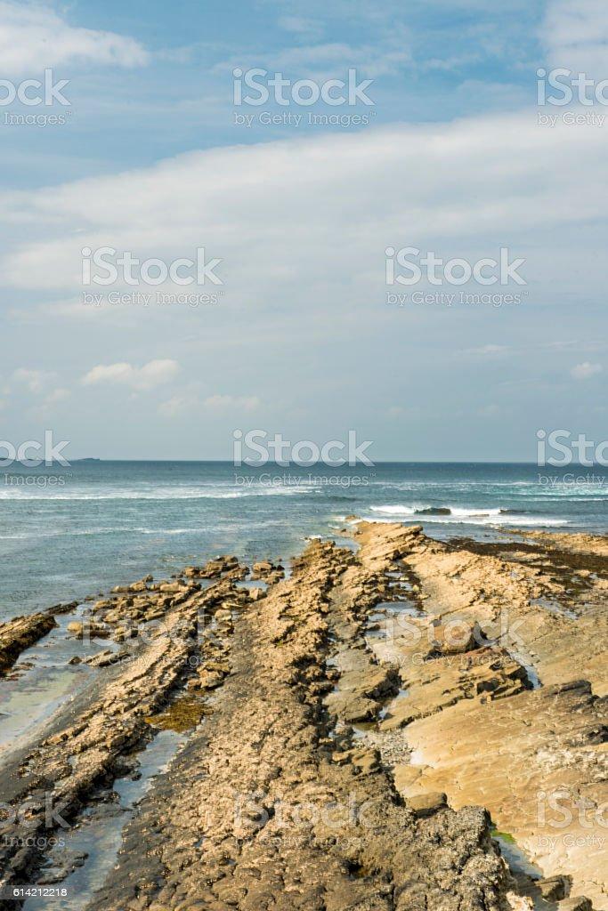 Rocks in Spanish Point, Ireland stock photo
