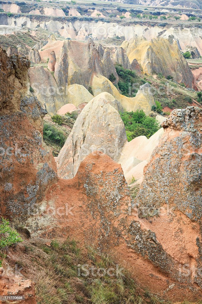 Rocks in the Red Valley, Cappadocia, Turkey stock photo