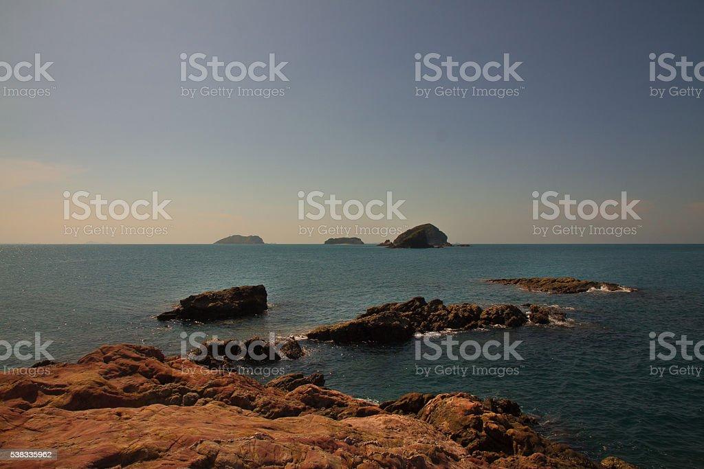 Rocks in the sea Pulau Rawa, Malaysia stock photo