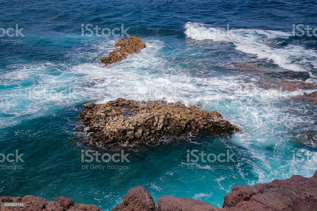 Rocks in the Water Lanzarote stock photo