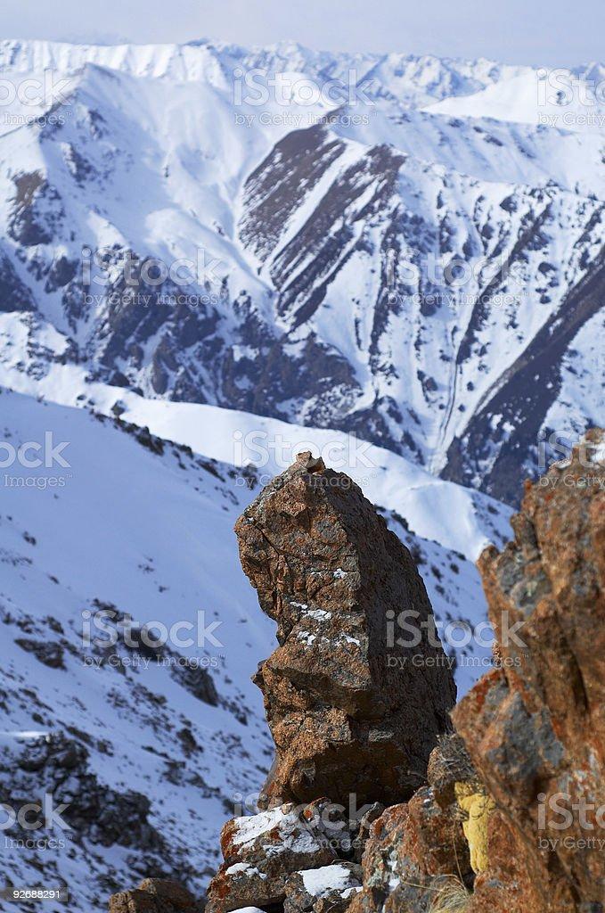 Rocks in winter mountain royalty-free stock photo