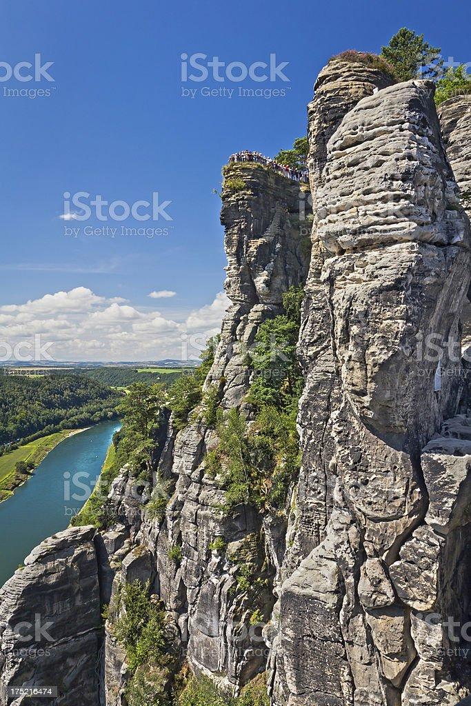 Rocks of Bastei in Saxony, Germany stock photo