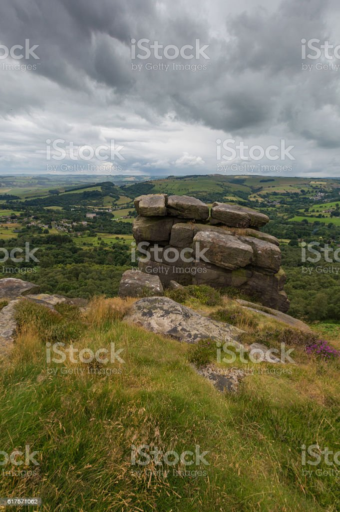 Rocks on a Hill at Froggatt Edge stock photo
