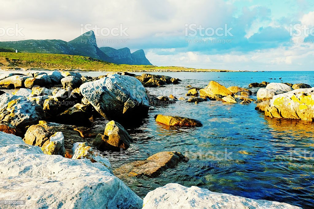 Rocks on coast near Cape Point, South Africa stock photo