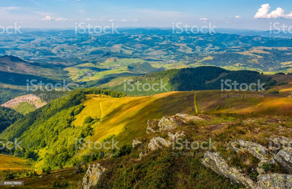 rocks on hillside of high mountain stock photo