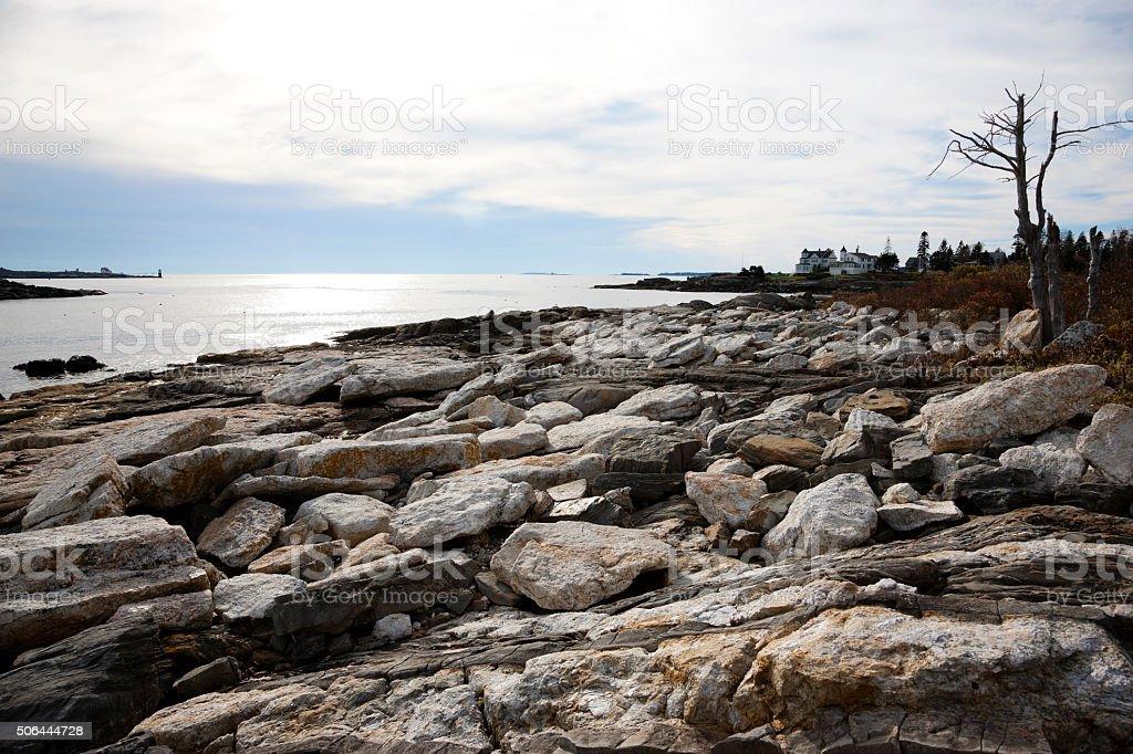 Rocks on Maine coast stock photo
