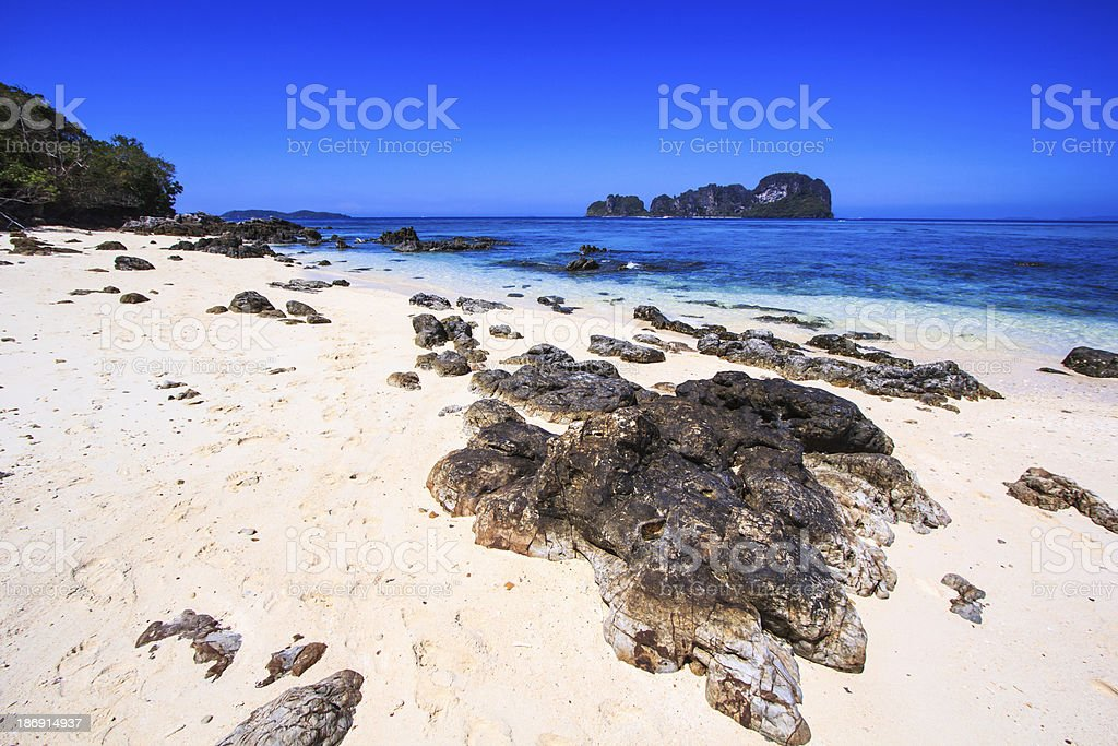 Rocks on the beach at Bamboo Island Asia Thailand royalty-free stock photo