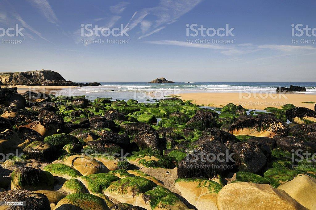 Rocks on the beach at Quiberon stock photo
