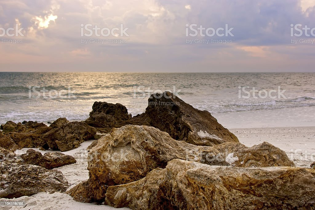 rocks on the beach stock photo