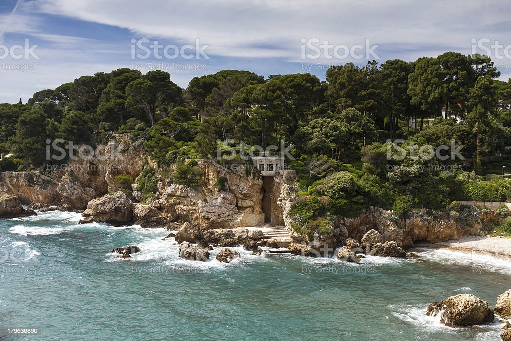 Rocks on the coastline of Cap d'Antibes royalty-free stock photo