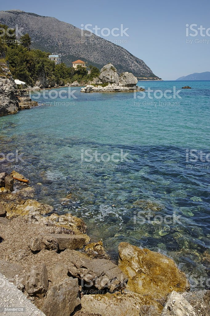 Rocks on the coastline of Lefkes, Kefalonia, Greece stock photo