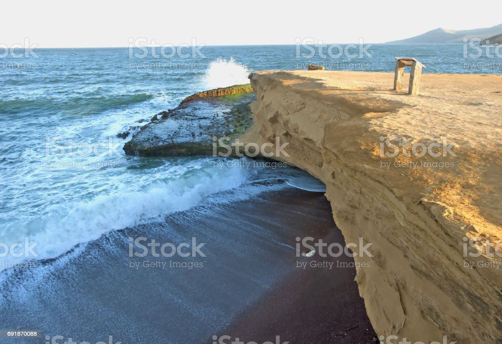 Rocks on the shore of the ocean. Peru stock photo