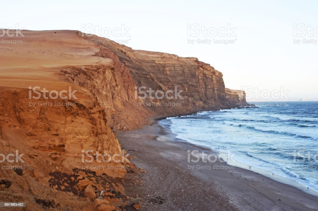 Rocks on the shore of the ocean. Peru'n stock photo