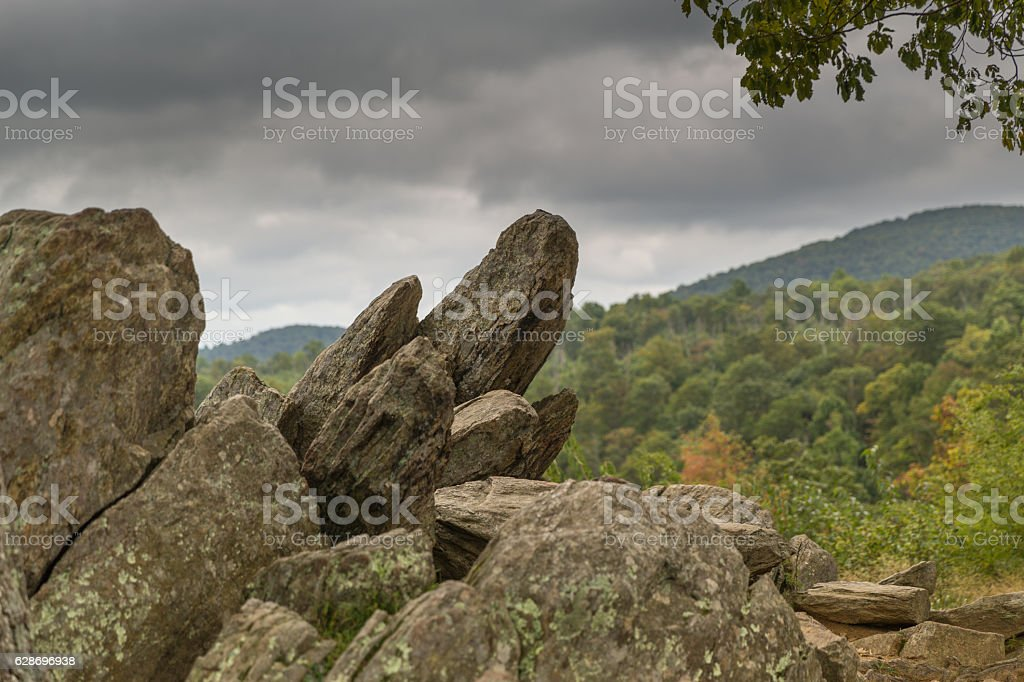 Rocks on the Skyline Drive in Shenandoah National Park stock photo