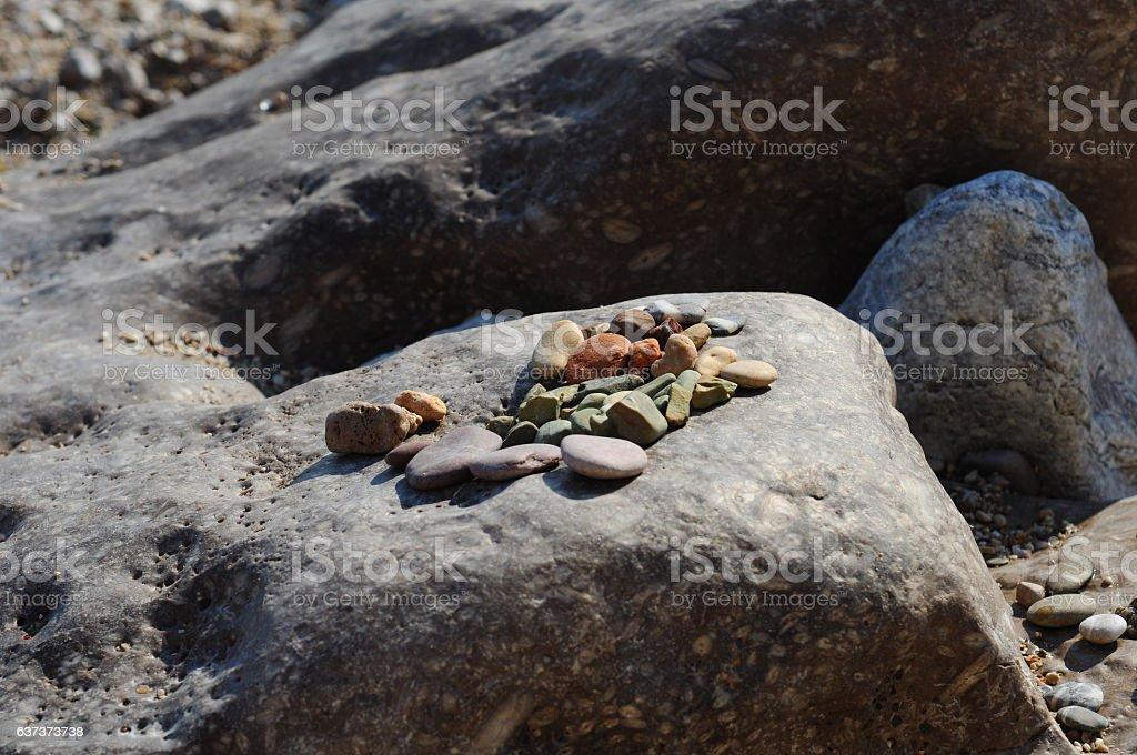 Rocks on top of stone stock photo