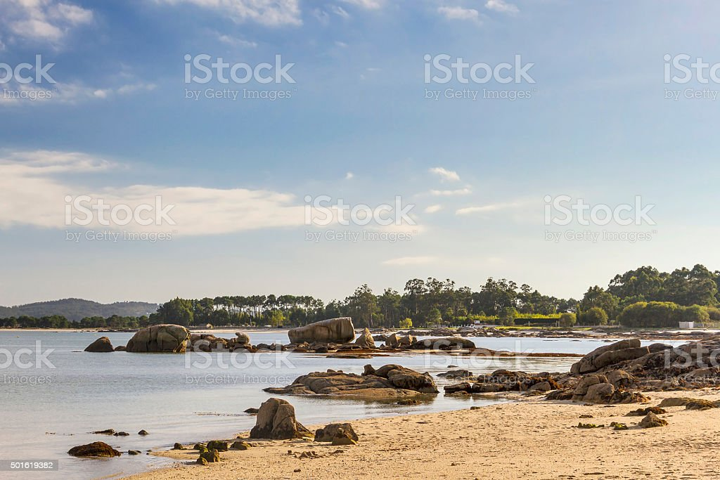 Rocks on Vao beach stock photo