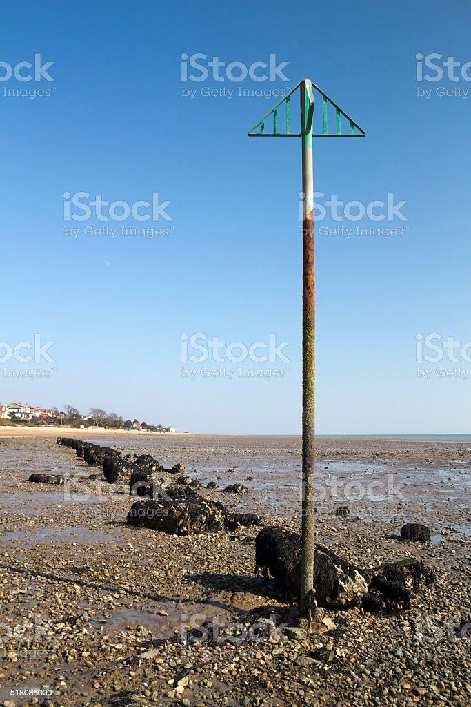 Rocks on West Mersea Beach, Essex, England stock photo