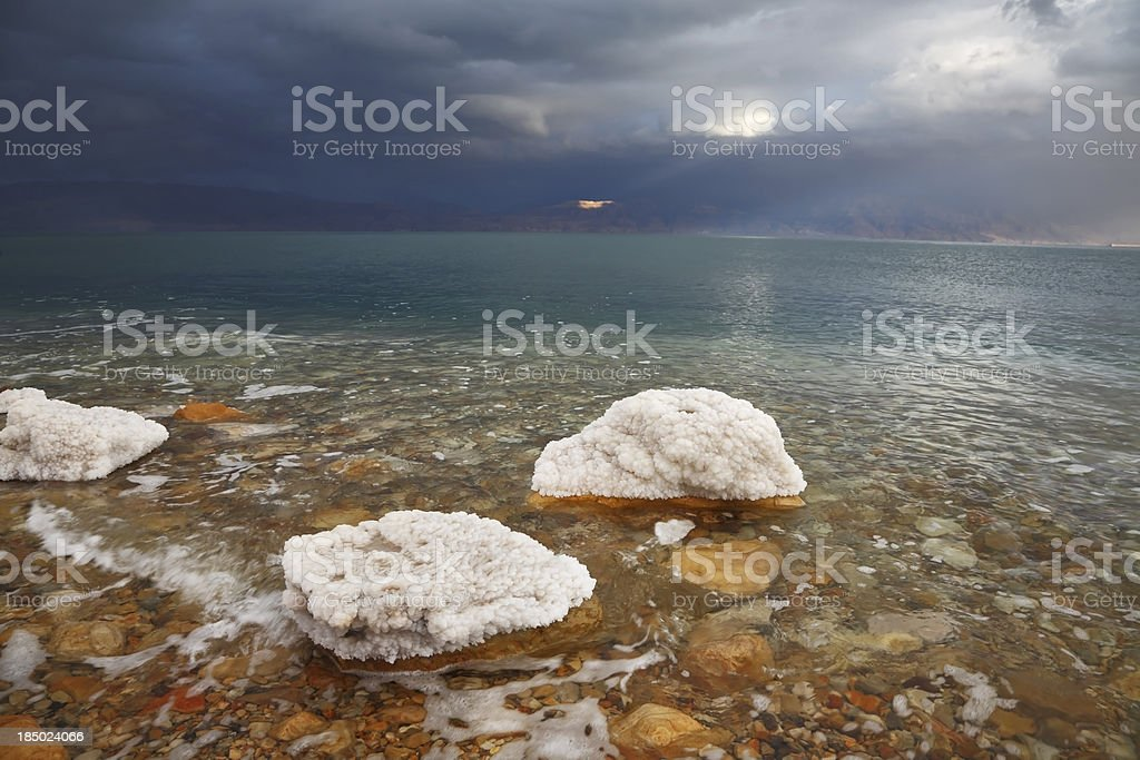 Rocks, overgrown with salt royalty-free stock photo