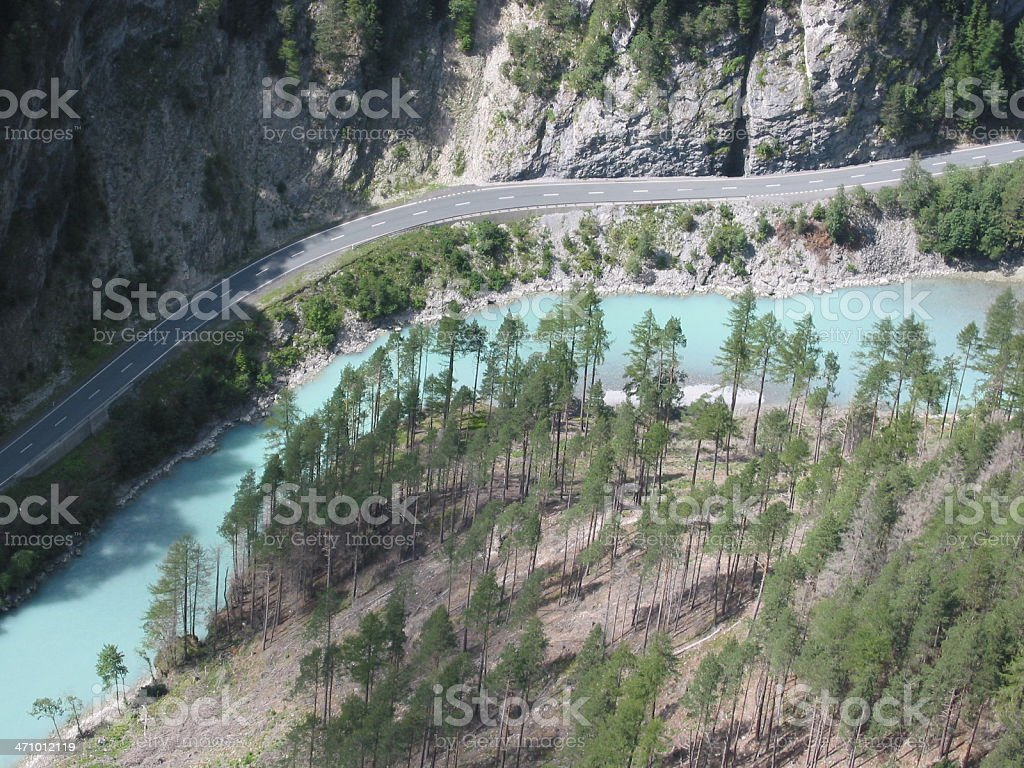 Rocks, Road, River and Pines royalty-free stock photo