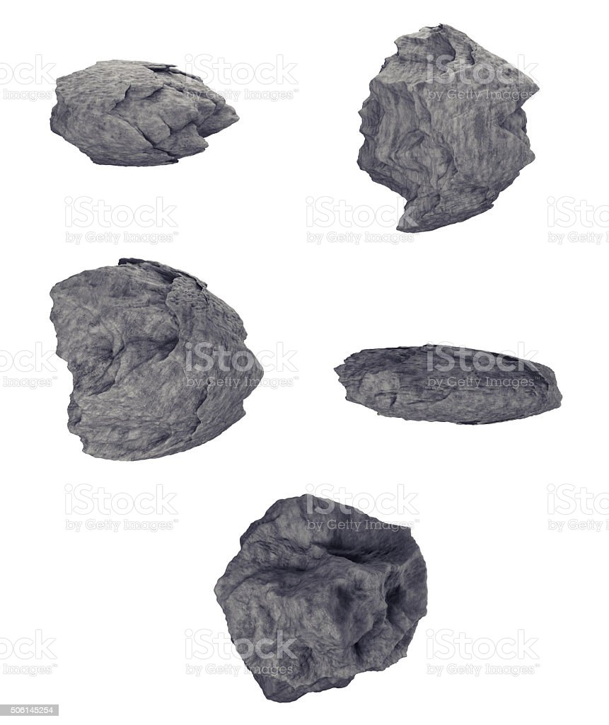 Rocks Set isolated on white background. Different models. stock photo