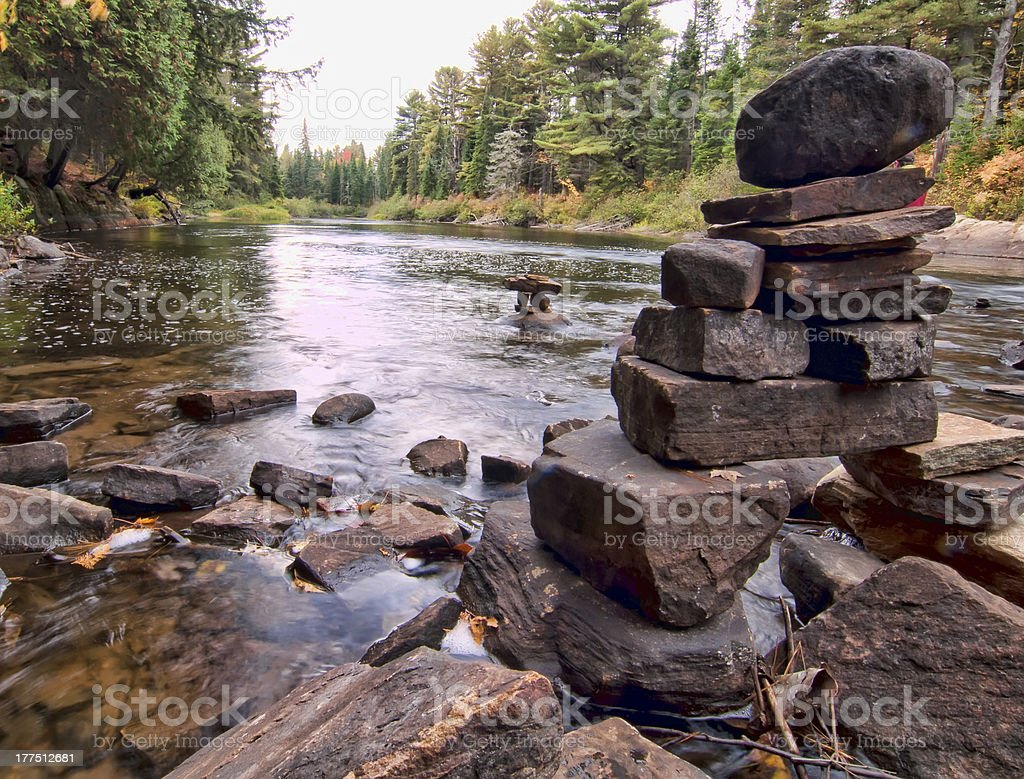 Rocks Stacked On River In Algonquin Park royalty-free stock photo
