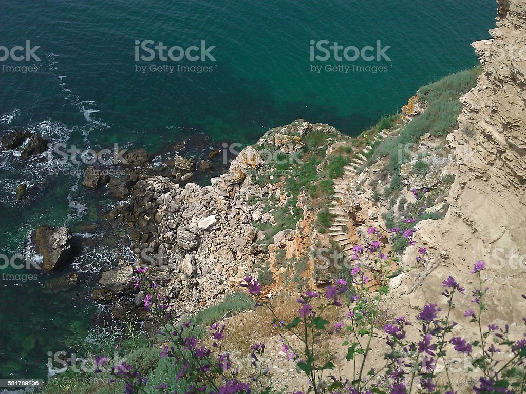 Rocks, Upstairs and Sea stock photo