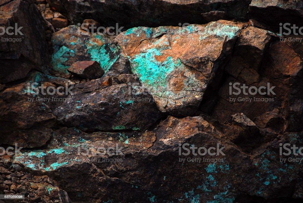 Rocks with Copper corrosion. stock photo