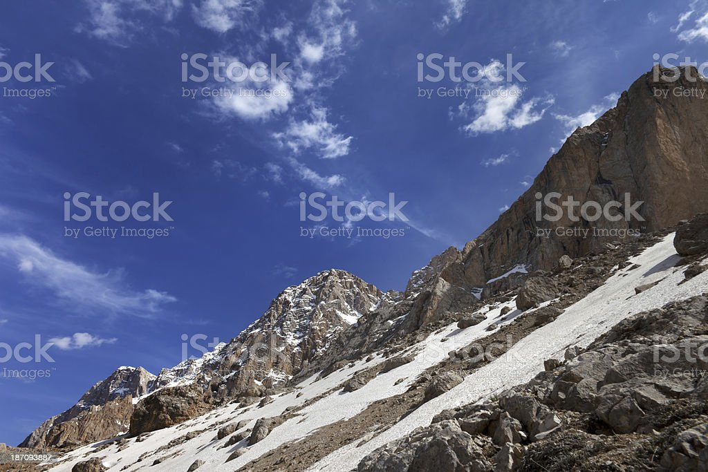 Rocks with snow at nice day royalty-free stock photo