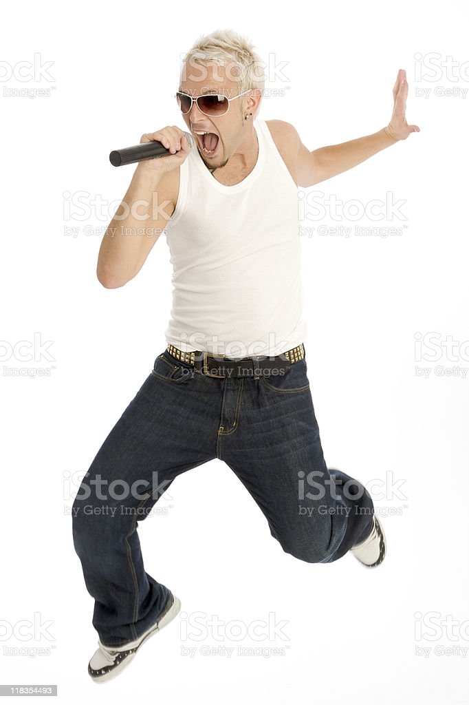 Rockstar jumping in the air royalty-free stock photo