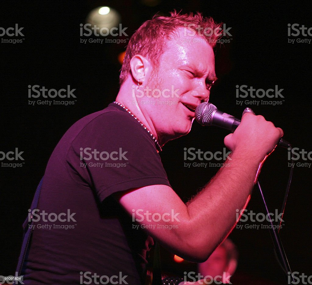 Rockstar singing on stage royalty-free stock photo