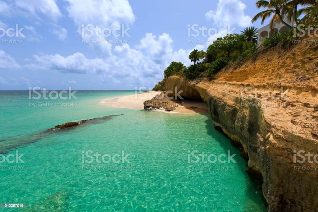 rocky anguilla island stock photo