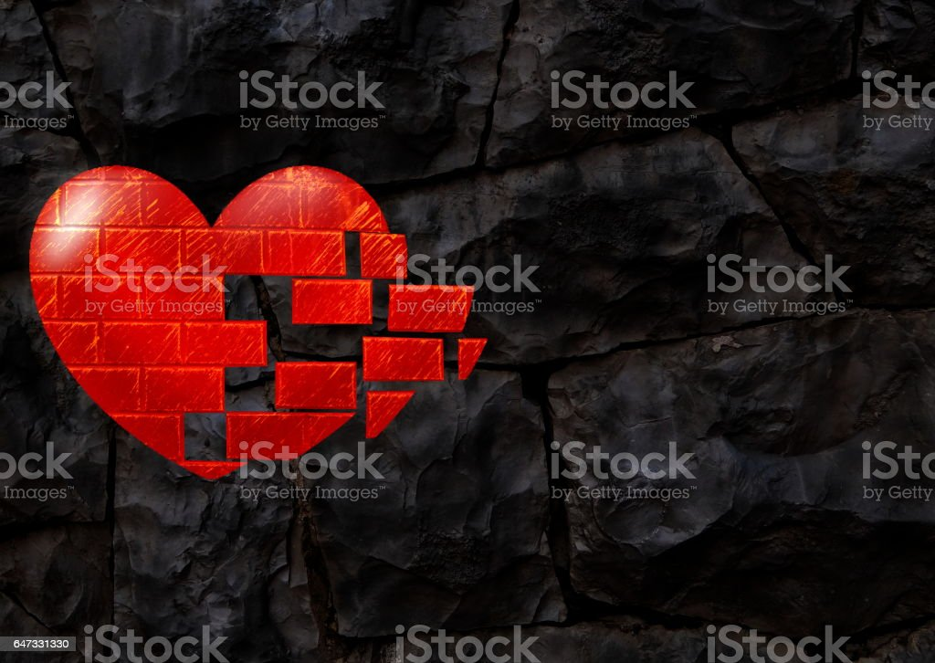 rocky background with heart vector art illustration