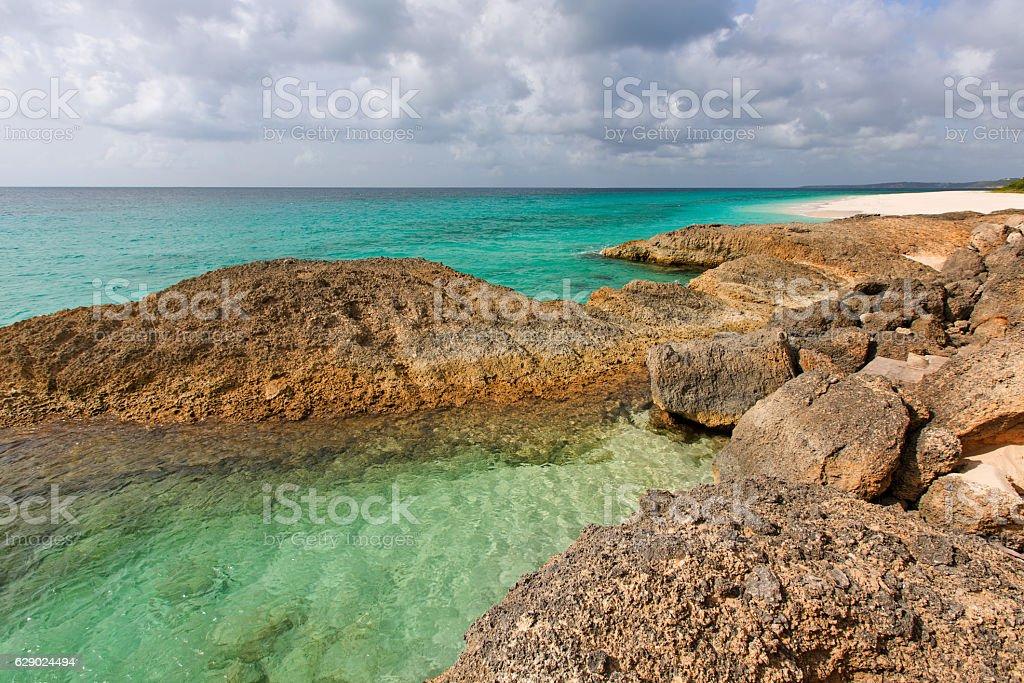 rocky beach at anguilla stock photo