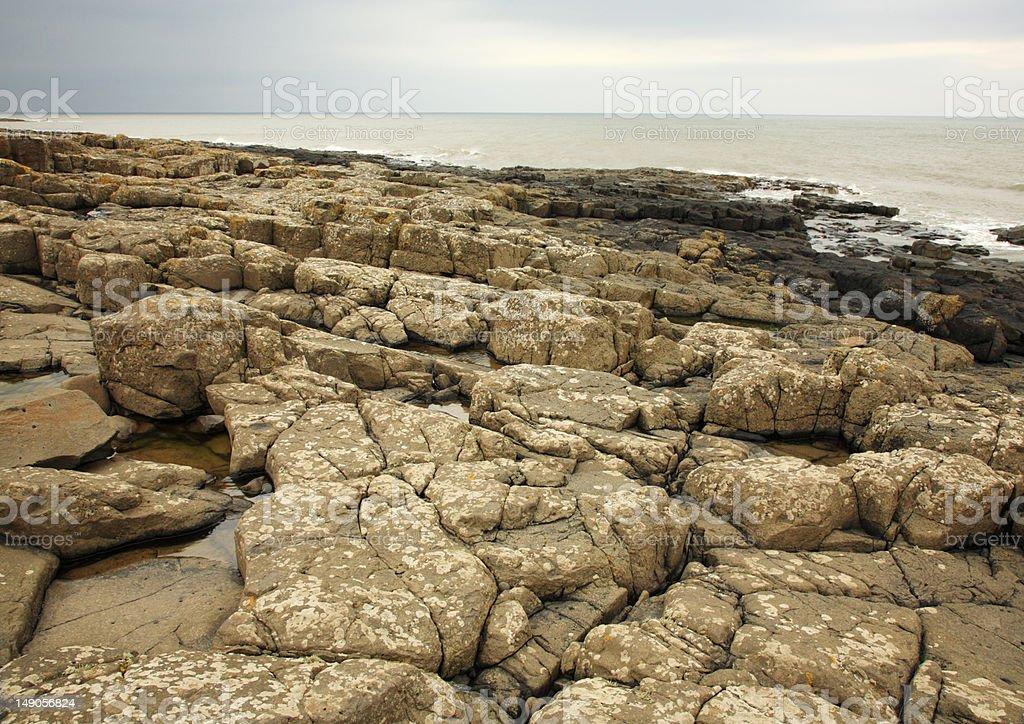 Rocky beach at Northumberland royalty-free stock photo