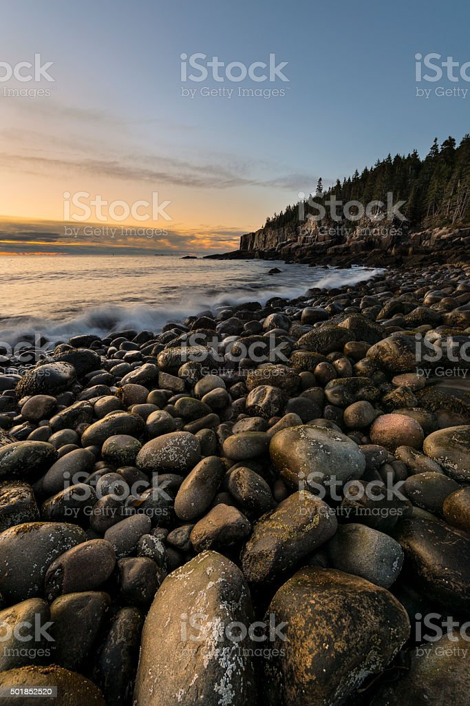Rocky Beach at Sunrise stock photo