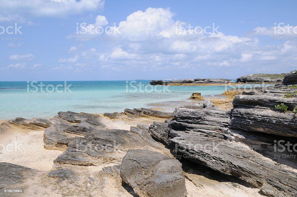Rocky Beach in Bermuda stock photo