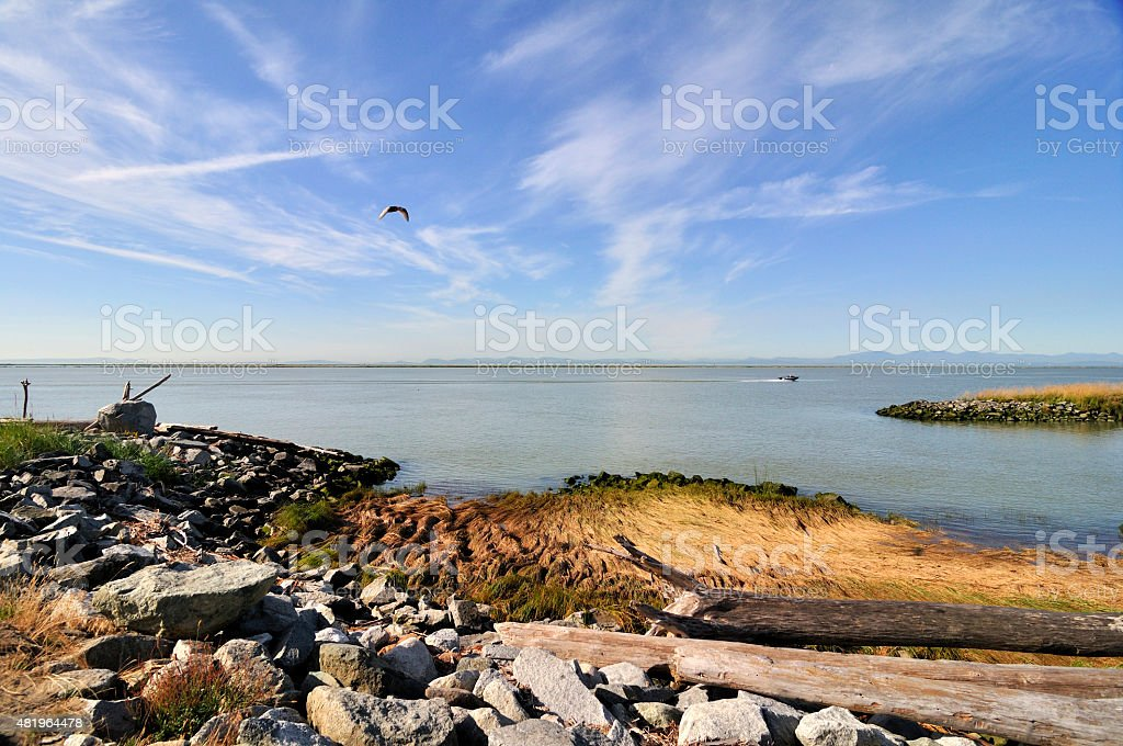 Rocky beach in Garry Point Park stock photo