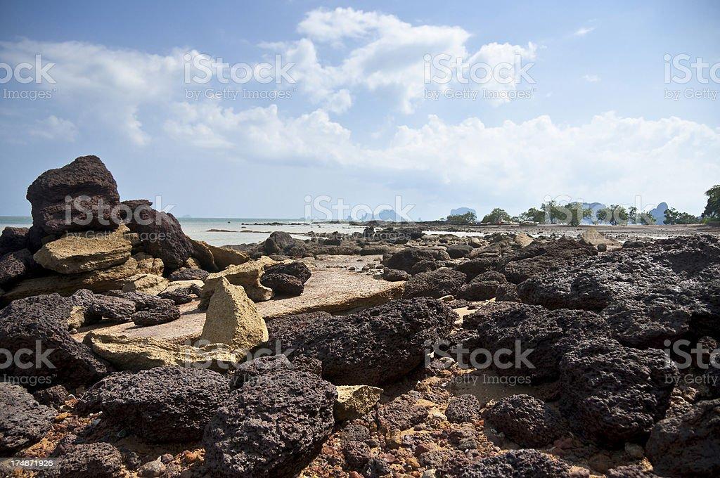 Rocky Beach In Thailand stock photo