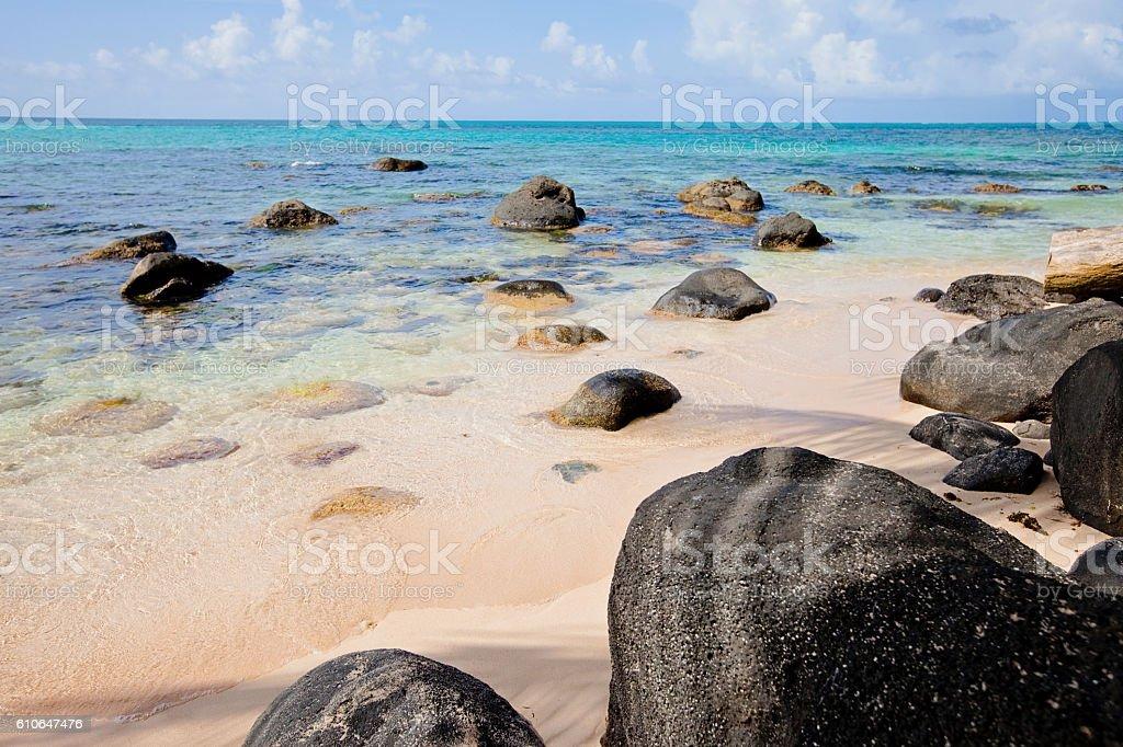 Rocky Beach in the Carribean stock photo
