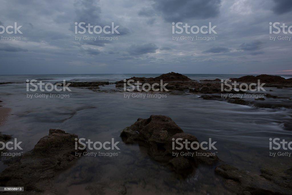 rocky beach Palmahim stock photo