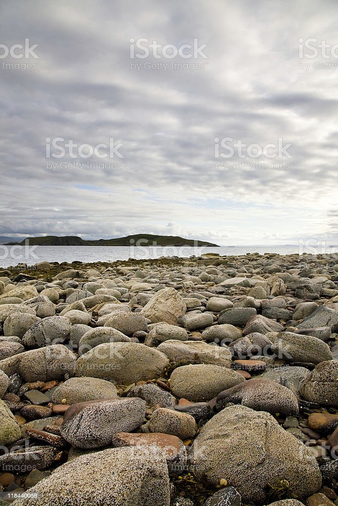 Rocky beach, Scotland stock photo