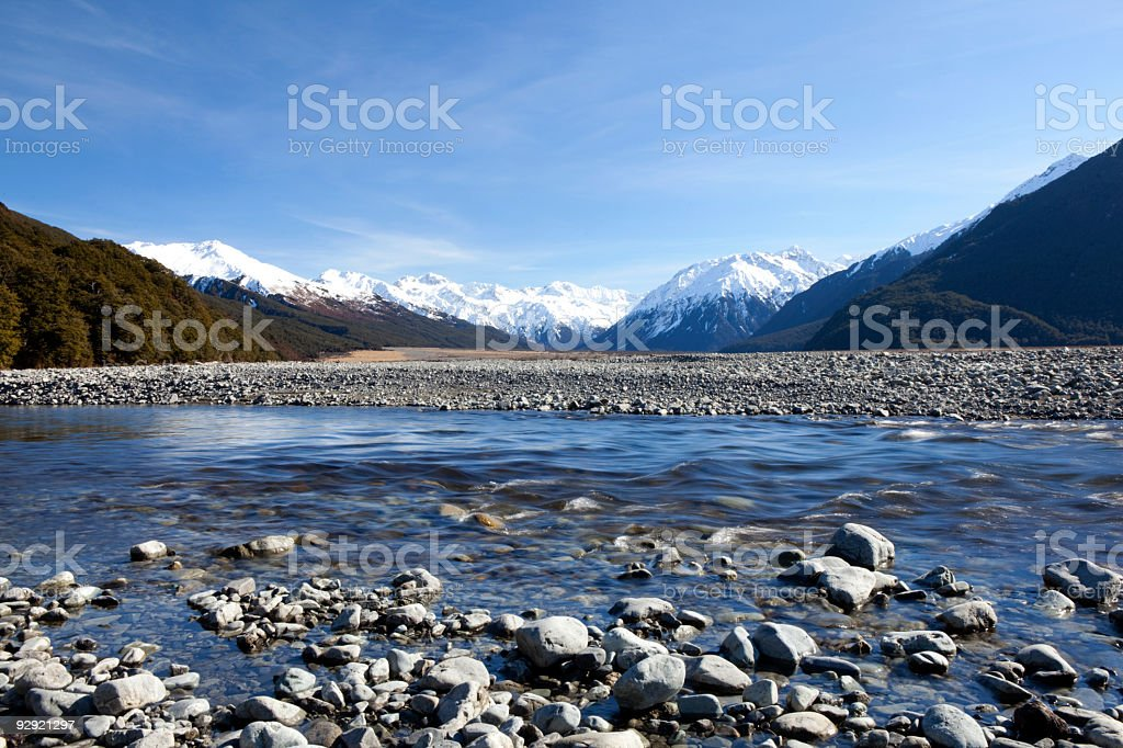 Rocky beach with snow-capped mountains in the background royalty-free stock photo