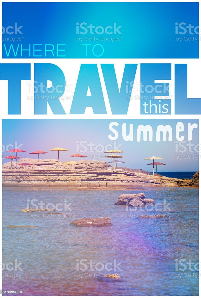 Rocky beach with words travel and summer stock photo