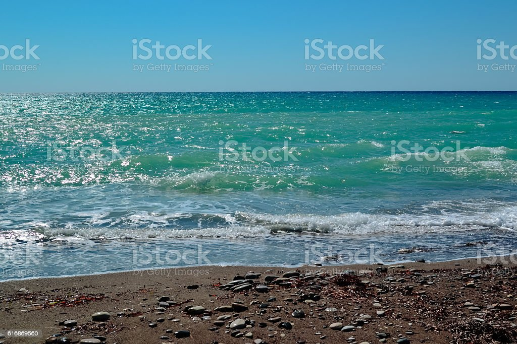 rocky beaches of Cyprus stock photo