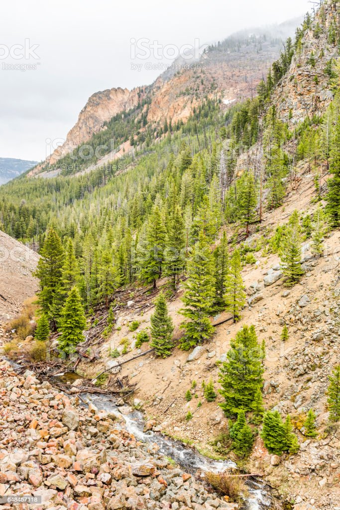 Rocky canyon mountain in Yellowstone National Park stock photo