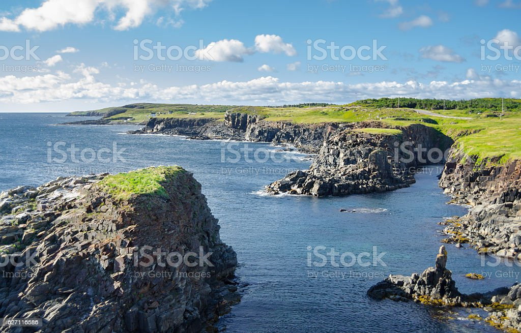Rocky Cape Bonavista coastline in Newfoundland, Canada. stock photo
