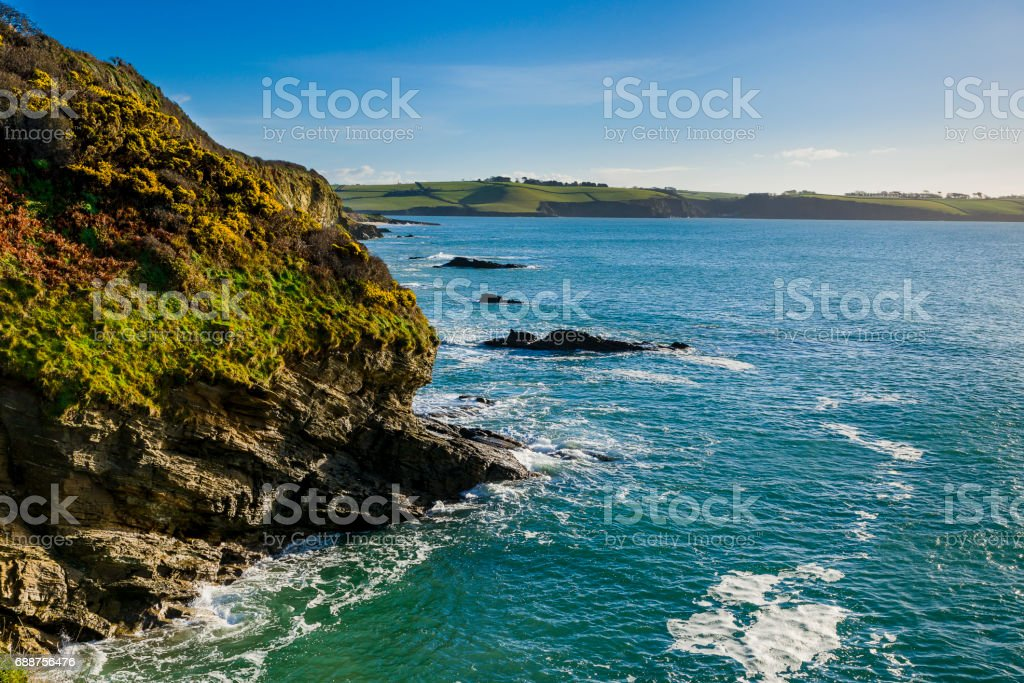 Rocky Cliff section Between Par Sands and Carlyon Bay stock photo