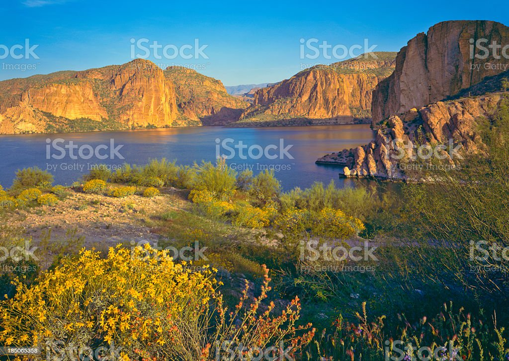 Rocky cliffs and shores of Arizona in spring stock photo