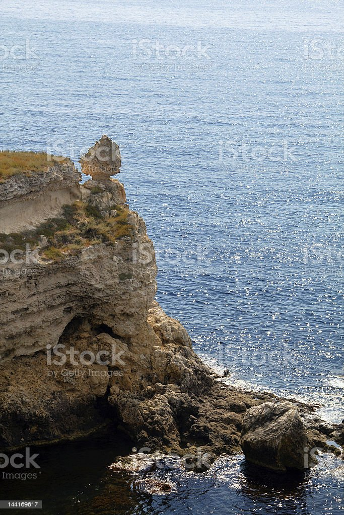 Rocky cliffs, the Black Sea coast stock photo