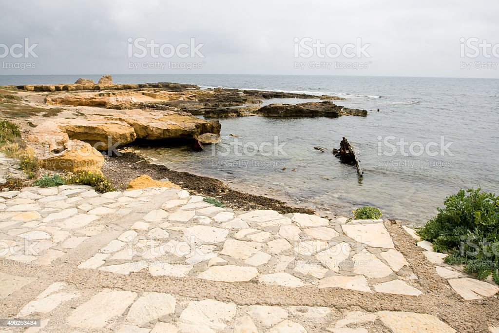 Rocky coast and sea near the town of Mahdia, Tunisia, stock photo